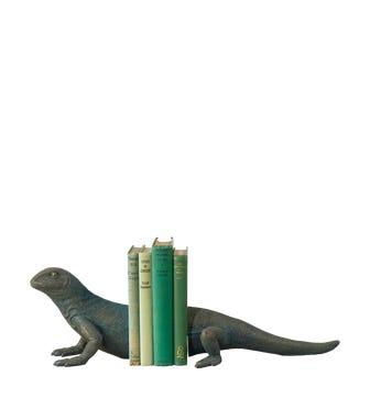 Gazing Lizard Bookends - Metallic Black