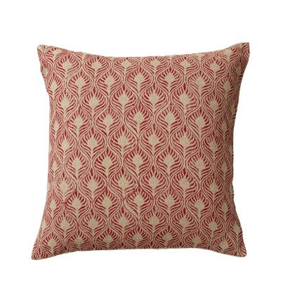 Ghini Feathers Cushion Cover - Red
