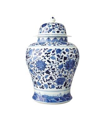 Giant Mandarin Hand-Painted Lidded Jar