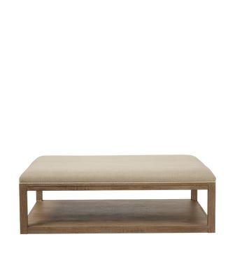 Glin Herringbone Linen Ottoman -Sand Wide Herringbone
