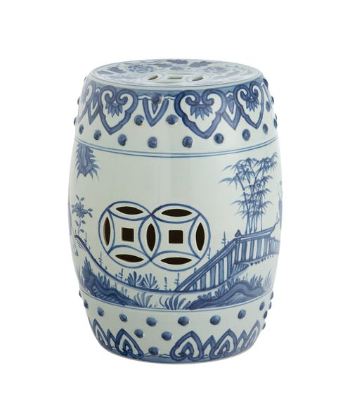 Hand-painted Chinese Barrel Seat - Pale Blue