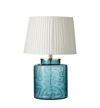 Illapa Etched Glass Table Lamp - Blue