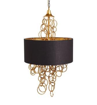 Indus Hanging Lamp & Shade - Black/Gold