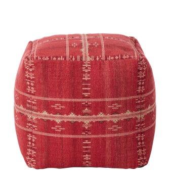 Ithaca Hand-Woven Floor Cushion - Grenache
