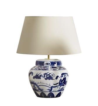 Kraakware Ceramic Chinese Table Lamp
