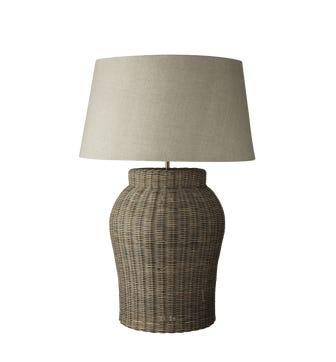 Tanjore Rattan Table Lamp, Large - Grey