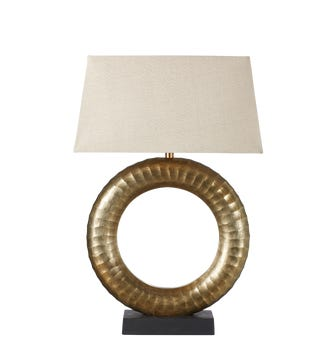 Budle Textured Circle Table Lamp - Antique Gold