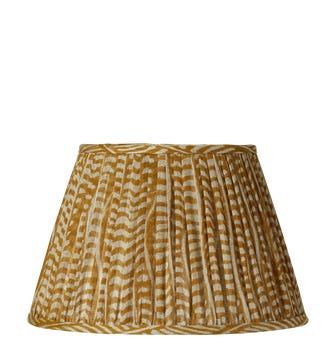 Knife Pleated Empire Lampshade - 14in / 36cm - Linen - Eclipse Mustard