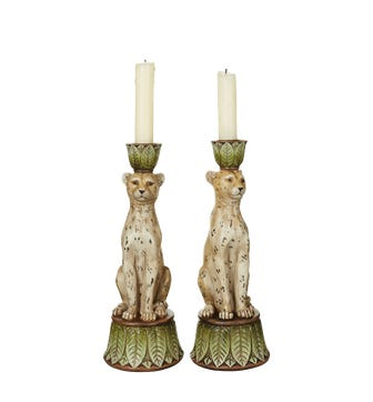 Pair of Lakadema Leopard Candle Holders - Multi