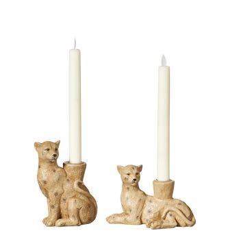 Pair of Lakadema Lounging Leopard Candle Holders - Multi