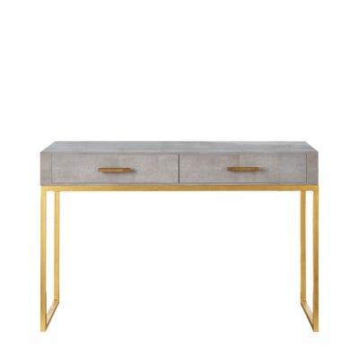 Lantau Faux Shagreen & Gold Dressing Table - Taupe