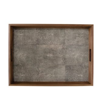 Large Faux Shagreen Serving Tray - Onyx