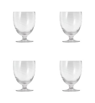 Set of Four Large Twisted Wine Glasses