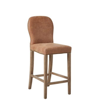 Leather Stafford Bar Stool - Aged Tobacco Leather