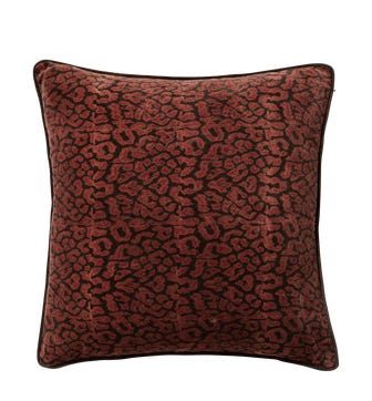 Leopard Print Cushion Cover - Blood Orange/Mocha