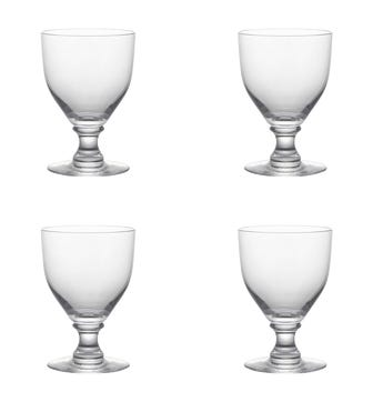 Set of Four Round-Based Crystal Goblets - Clear
