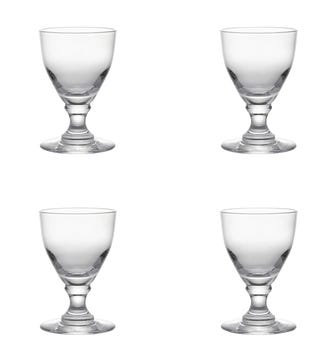 Set of Four Large Round-Based Crystal Glasses - Clear