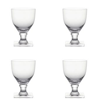 Set of Four Square-Based Crystal Goblets - Clear