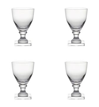 Set of Four Large Square-Based Crystal Glasses - Clear