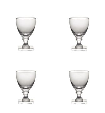 Set of Four Small Square-Based Crystal Glasses Small - Clear