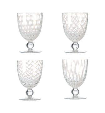 Pulcinella Large Wine Glasses, Set of 4 - White