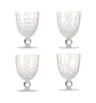Set of Four Large Pulcinella Wine Glasses - White