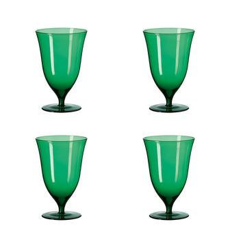 Set of Four Lavaux Glass Goblets - Creme de Menthe