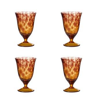 Set of Four Lavaux Glass Goblets - Multi