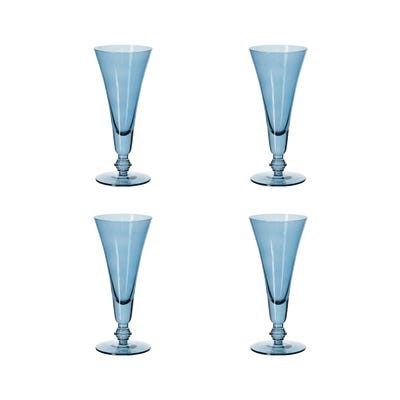 Set of Four Tall Elne Champagne Flutes - Sapphire