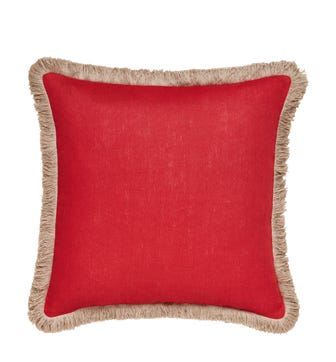 Lilias Linen Pillow Cover - Maple Red