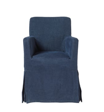 Linen Loose Cover For Atherton Dining Chair - Pure Navy