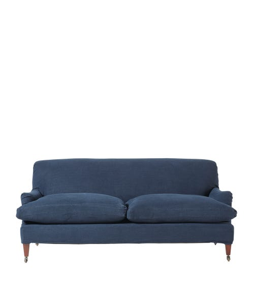 Linen Slipcover For Coleridge 3-Seater Sofa - Pure Navy