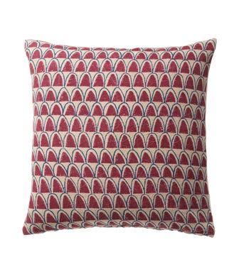 Linnaeus Arches Cushion Cover (56CmSq) - Burgundy/Indigo