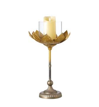 Large Lotus Candle Holder - Gold