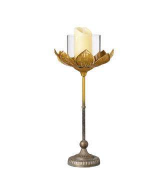 Medium Lotus Candle Holder - Gold