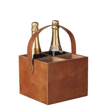 Nugola Leather Wine Carry - Light Tan