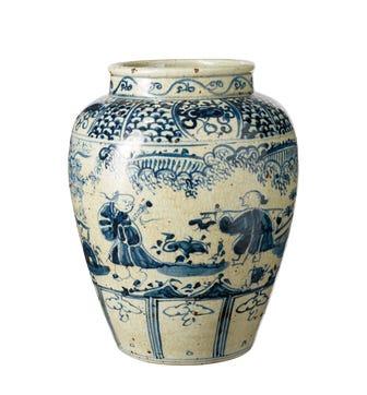 Lvliang Porcelain Jar - White/Blue