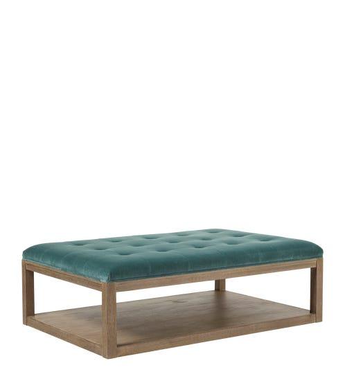 Miskin Velvet Upholstered Ottoman - Teal