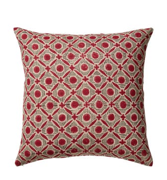 Nostell Diamonds Cushion Cover - Red Madder