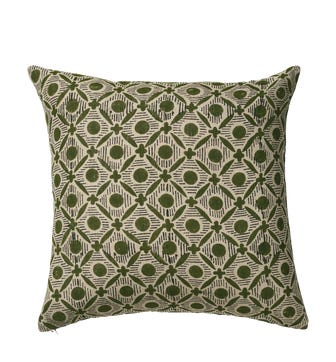Nostell Diamonds Cushion Cover - Seaweed Green