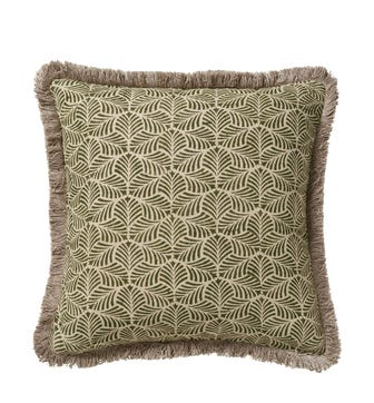 Nostell Leaves Cushion Cover - Seaweed Green