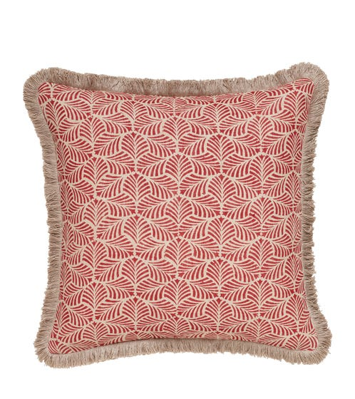 Nostell Leaves Pillow Cover - Red Madder