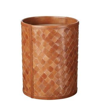 Nugola Leather Wastebasket - Light Tan