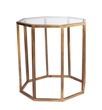 Octagon Side Table, Large - Brass