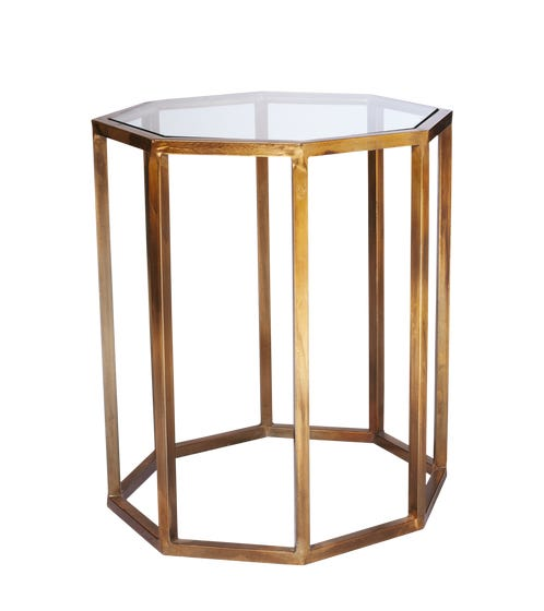 Octagon Side Table, Small - Brass