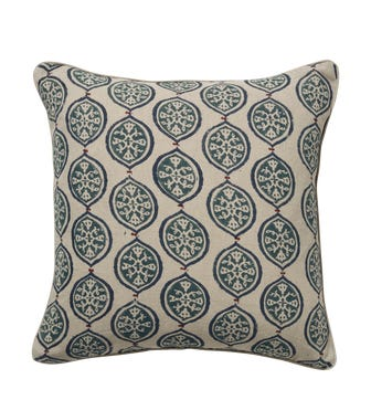 Ogival Cushion Cover - Petrol/Red
