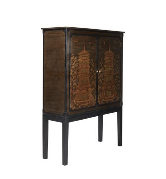 Pagoda Chinoiserie TV Cabinet - Black/Antique Gold