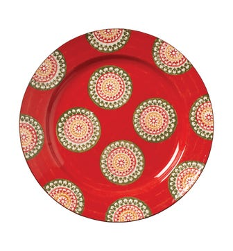Pasha Large Plate - Red/Green