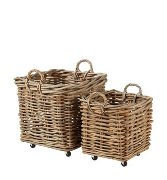 Pair of Patiner Rattan Baskets with Wheels - Stone Grey