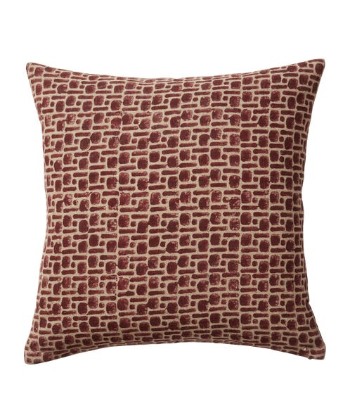 Pattani Dots & Dashes Pillow Cover(51cmSq) - Cabernet Red
